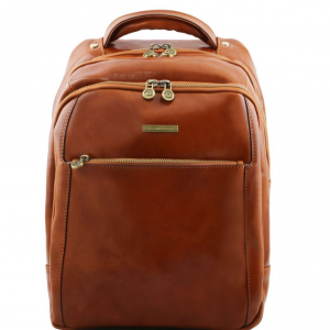 Tuscany Leather TL141402 Phuket - 3 Compartments leather laptop backpack Honey