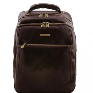 Tuscany Leather TL141402 Phuket - Zaino porta notebook in pelle 3 scomparti Testa di Moro
