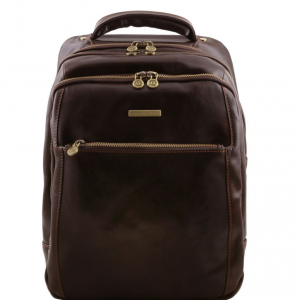 Tuscany Leather TL141402 Phuket - 3 Compartments leather laptop backpack Dark Brown