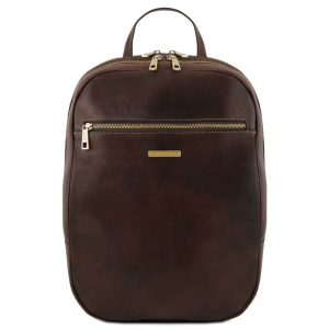 Tuscany Leather TL141711 Osaka - Leather laptop backpack Dark Brown