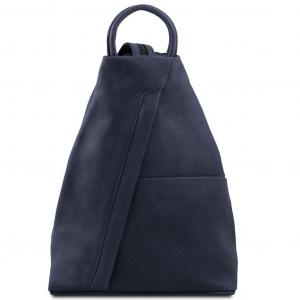Tuscany Leather TL140963 Shanghai - Leather backpack Dark Blue