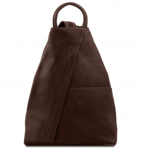 Tuscany Leather TL140963 Shanghai - Leather backpack Dark Brown