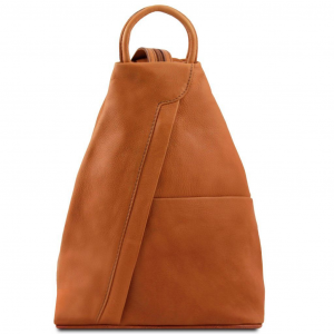 Tuscany Leather TL140963 Shanghai - Leather backpack Cognac