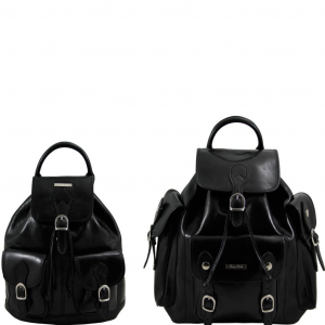 Tuscany Leather TL90173 Trekker - Ensemble de voyage sacs à dos en cuir Noir