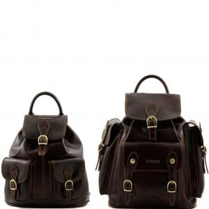 Tuscany Leather TL90173 Trekker - Ensemble de voyage sacs à dos en cuir Marron foncé