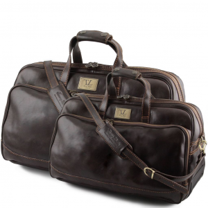 Tuscany Leather TL3072 Bora Bora - Leather Trolley travel set Dark Brown