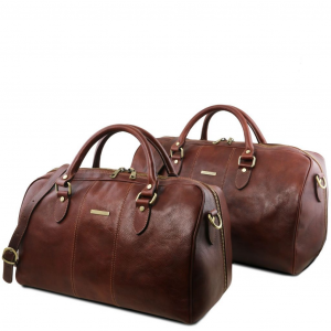 Tuscany Leather TL141659 Lisbona - Ensemble de voyage en cuir Marron