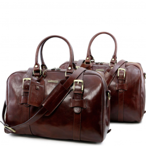 Tuscany Leather TL141257 Vespucci - Leather travel set Brown
