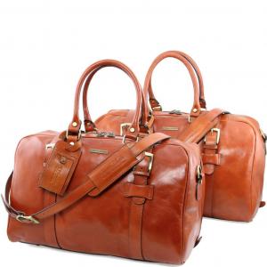 Tuscany Leather TL141257 Vespucci - Ensemble de voyage en cuir Miel