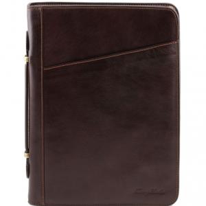Tuscany Leather TL141295 Costanzo - Esclusivo portadocumenti in pelle con anelli e manico Testa di Moro