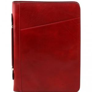 Tuscany Leather TL141295 Costanzo - Esclusivo portadocumenti in pelle con anelli e manico Rosso