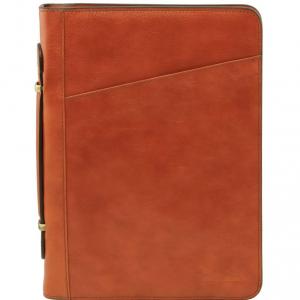Tuscany Leather TL141295 Costanzo - Esclusivo portadocumenti in pelle con anelli e manico Miele