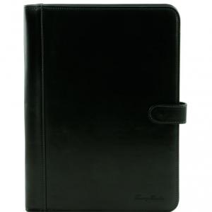 Tuscany Leather TL141275 Adriano - Porte documents en cuir avec fermerture à bouton Noir