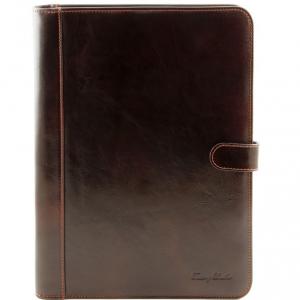 Tuscany Leather TL141275 Adriano - Porte documents en cuir avec fermerture à bouton Marron foncé