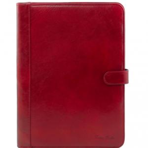 Tuscany Leather TL141275 Adriano - Porte documents en cuir avec fermerture à bouton Rouge