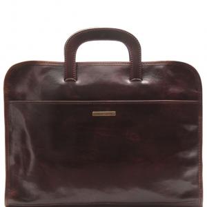 Tuscany Leather TL141022 Sorrento - Serviette Porte-documents en cuir Marron foncé