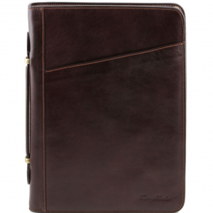 Tuscany Leather TL141404 Claudio - Exclusive leather document case with handle Dark Brown