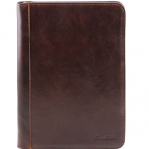 Tuscany Leather TL141287 Luigi XIV - Porte-document en cuir avec fermeture glissière Marron foncé