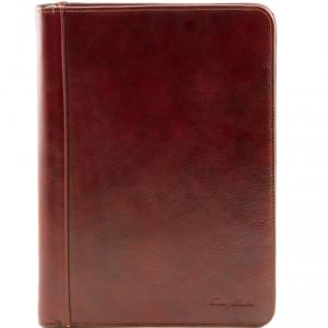 Tuscany Leather TL141287 Luigi XIV - Porte-document en cuir avec fermeture glissière Marron