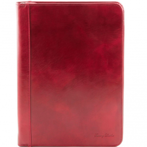 Tuscany Leather TL141287 Luigi XIV - Leather document case with zip closure Red
