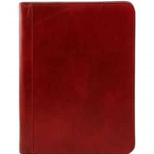 Tuscany Leather TL141293 Lucio - Esclusivo portadocumenti in pelle con anelli Rosso