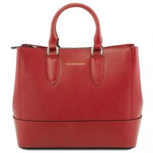 Tuscany Leather TL141638 TL Bag - Borsa a mano in pelle Saffiano Rosso