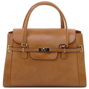 Tuscany Leather TL141230 TL NeoClassic - Lady leather handbag with twist lock Dark Taupe