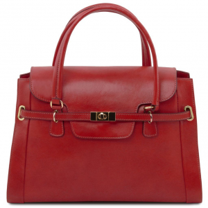 Tuscany Leather TL141230 TL NeoClassic - Lady leather handbag with twist lock Red