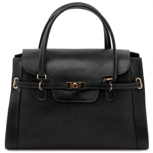 Tuscany Leather TL141230 TL NeoClassic - Lady leather handbag with twist lock Black