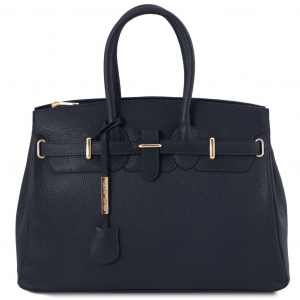 Tuscany Leather TL141529 TL Bag - Leather handbag with golden hardware Dark Blue