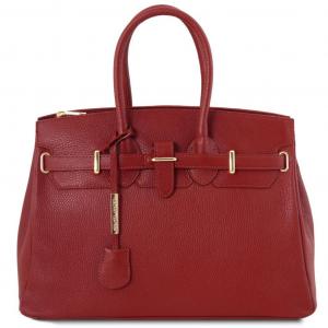 Tuscany Leather TL141529 TL Bag - Sac à main pour femme avec finitions couleur or Rouge
