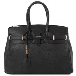 Tuscany Leather TL141529 TL Bag - Leather handbag with golden hardware Black
