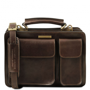 Tuscany Leather TL141270 Tania - Leather lady handbag Dark Brown