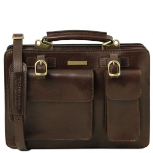 Tuscany Leather TL141269 Tania - Leather lady handbag - Large size Dark Brown