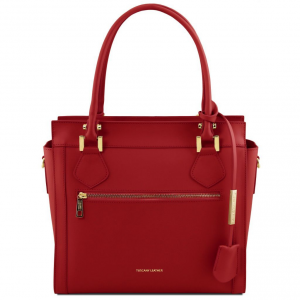 Tuscany Leather TL141644 Lara - Sac à main en cuir avec zip frontal Rouge