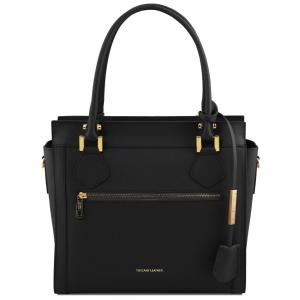 Tuscany Leather TL141644 Lara - Leather handbag with front zip Black