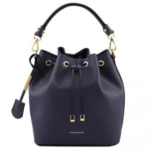 Tuscany Leather TL141531 Vittoria - Leather secchiello bag Dark Blue