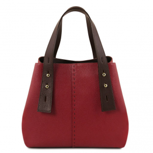 Tuscany Leather TL141730 TL Bag - Borsa shopping in pelle Rosso