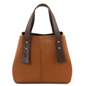Tuscany Leather TL141730 TL Bag - Borsa shopping in pelle Cognac