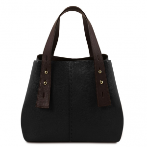 Tuscany Leather TL141730 TL Bag - Borsa shopping in pelle Nero