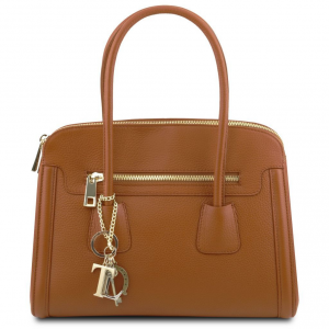 Tuscany Leather TL141285 TL Keyluck - Borsa a mano media in pelle morbida Cognac