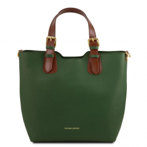 Tuscany Leather TL141696 TL Bag - Borsa a mano in pelle Saffiano Verde