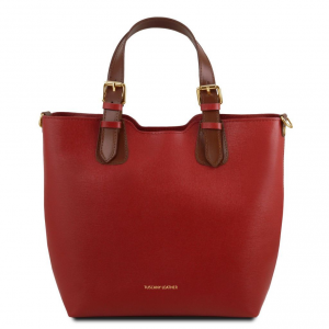 Tuscany Leather TL141696 TL Bag - Borsa a mano in pelle Saffiano Rosso