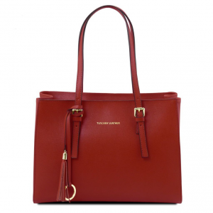 Tuscany Leather TL141518 TL Bag - Borsa a mano in pelle Saffiano Rosso