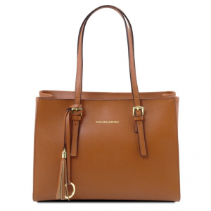 Tuscany Leather TL141518 TL Bag - Borsa a mano in pelle Saffiano Cognac