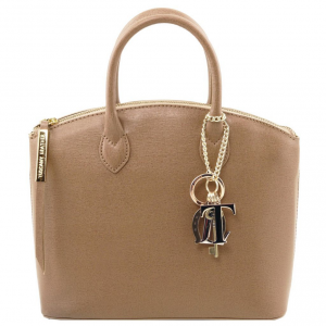 Tuscany Leather TL141265 TL KeyLuck - Borsa shopper in pelle Saffiano - Misura piccola Caramello