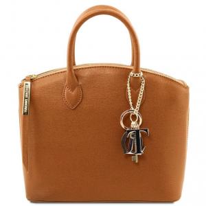 Tuscany Leather TL141265 TL KeyLuck - Sac cabas en cuir Saffiano - Petit modèle Cognac