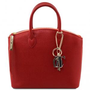 Tuscany Leather TL141265 TL KeyLuck - Borsa shopper in pelle Saffiano - Misura piccola Rosso