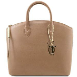 Tuscany Leather TL141261 TL KeyLuck - Borsa shopper in pelle Saffiano Caramello