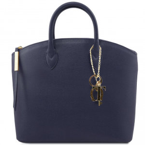 Tuscany Leather TL141261 TL KeyLuck - Borsa shopper in pelle Saffiano Blu scuro